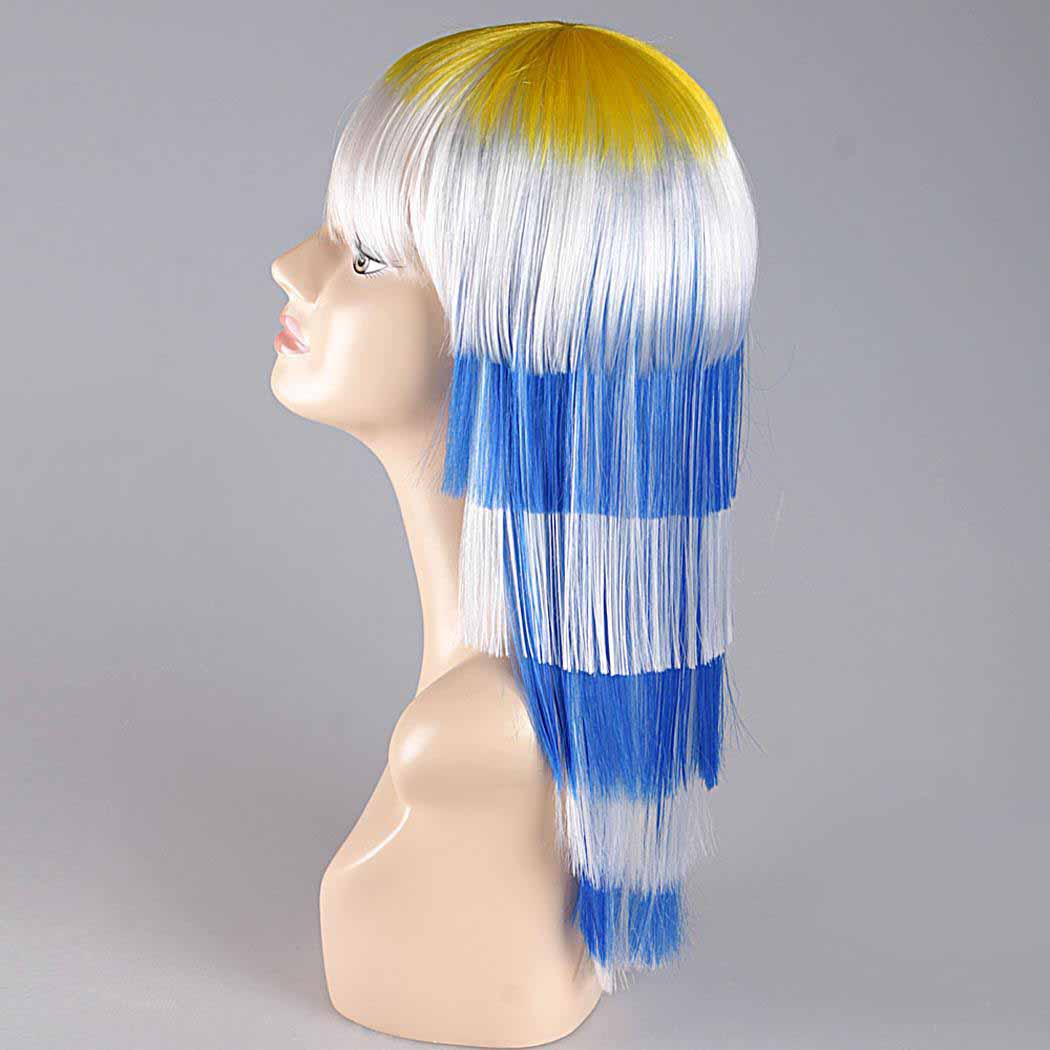 flagwigs, football wigs, fan wigs, afro wigs, mullet wigs, bob wigs, euro wigs,  premier league wigs,Uruguay Long Wig
