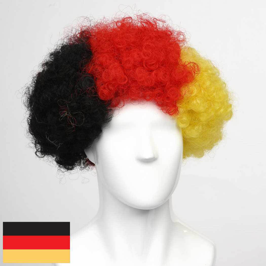 flagwigs, football wigs, fan wigs, afro wigs, mullet wigs, bob wigs, euro wigs,  premier league wigs,Germany Afro Wig