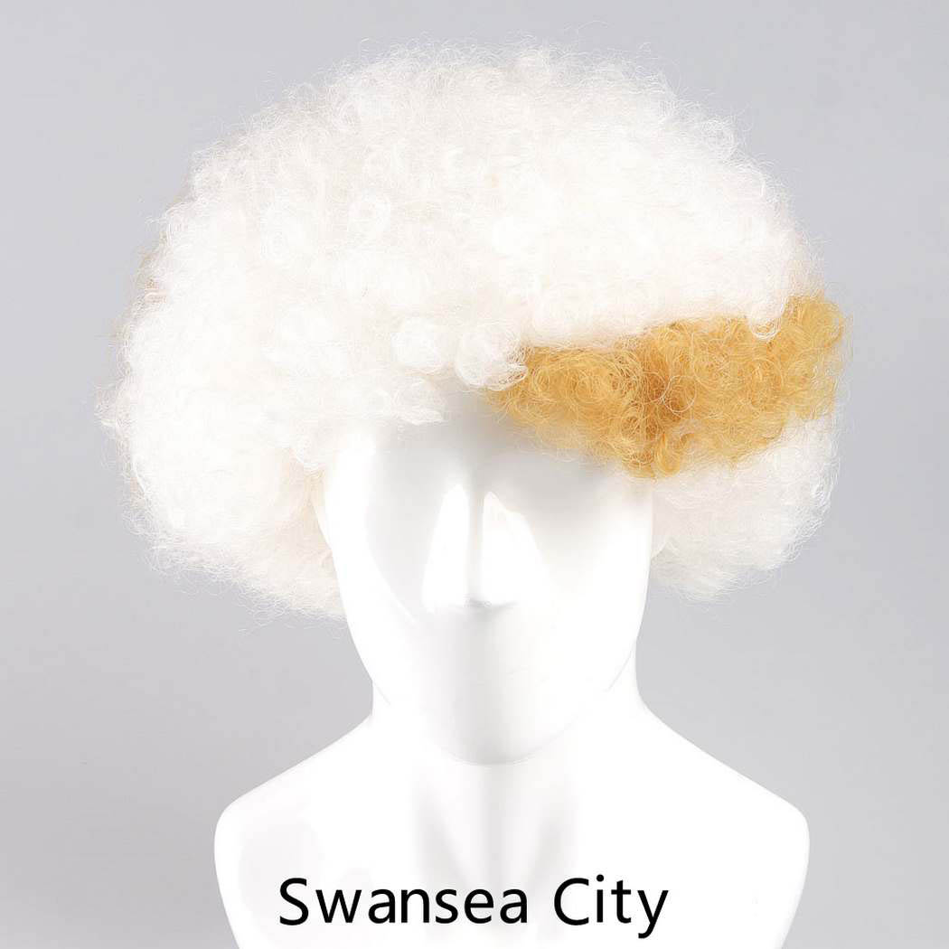 flagwigs, football wigs, fan wigs, afro wigs, mullet wigs, bob wigs, euro wigs,  premier league wigs,Swansea City Afro Wig