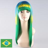 flagwigs, football wigs, fan wigs, afro wigs, mullet wigs, bob wigs, euro wigs,  premier league wigs,Brazil Long Wig